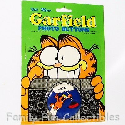 GARFIELD~1990s Kat's Meow Photo Button~Pin Back Tin Lapel~Cartoon Figure 4~NOC