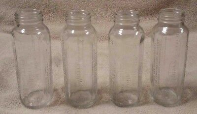 Lot of 4 EVENFLO 8 oz 240 ml GLASS Baby Bottles Excellent Condition