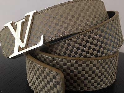 NEW Fashion Belt Soft Brown Leather with Gold LV Buckle 44""