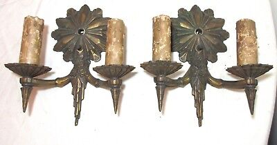 pair of antique ornate bronze 2 arm electric wall sconce fixture brass