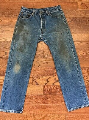 Vintage Made In USA Levi's 501 Stained/ Distressed Jeans - 33 X 29