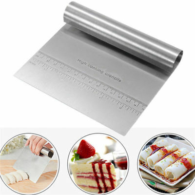 Stainless Steel Pizza Dough Scraper Cutter Kitchen Flour Pastry Cake Bread Tool