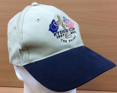 Official Ryder Cup Merchandise 2001 The Belfry Baseball Cap Hat Cream Blue