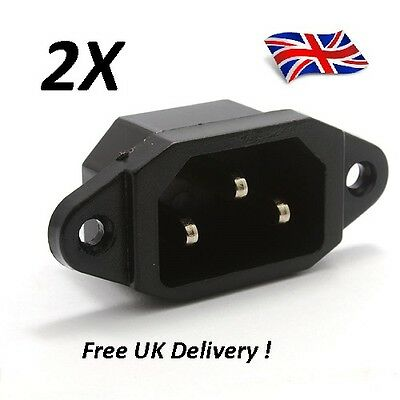 3  Pin Male Mains Power Inlet Socket  2pc IEC 320 C14 PCB Mount - 10A  UK  x 2pc