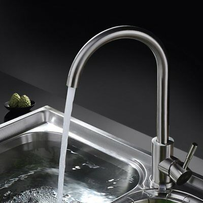 Brushed Stainless Steel Kitchen Sink Mixer Tap Mono Single Lever Swivel Spout