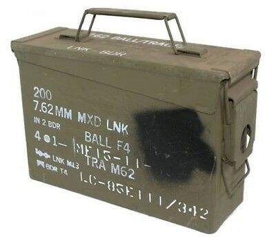 Ammo Box Can 30 Cal Ammunition Box  Steel Fully Sealed Ex Military Army