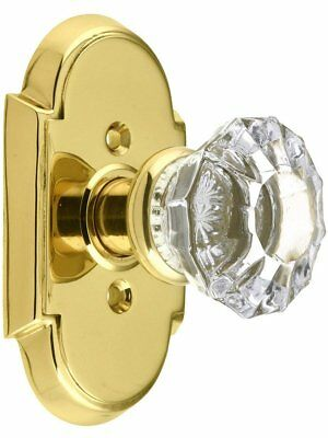 Arched Rosette Set With Fluted Crystal Knobs Passage In Polished Brass. Old Door