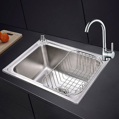 Commercial Stainless Steel Kitchen Sink Square Single 1.0 Bowl Drainer Kit & Tap