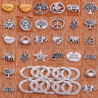 10PC Silver Tone Charms Pendants For Necklace Bracelet Jewelry Making Findings