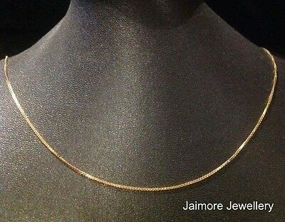 100% Real Solid 9k Aust Yellow Gold 1mm 45cm Necklace Box CHAIN 2.35g