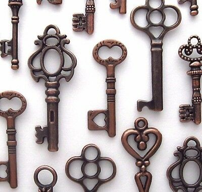 48 Lot VIntage Style Copper Antique Skeleton Furniture Cabinet Old Lock Keys