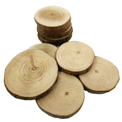 10Pcs 60-90mm Wood Tree Log Slices Rustic Craft Wedding Centerpiece Coaster