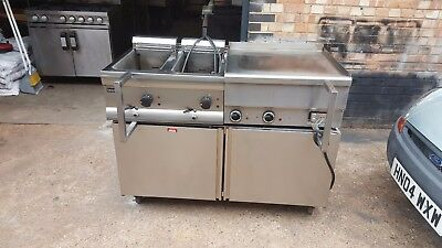Fryer, Flat Grill, Hot Cupboard 3 Piece Set Unit,Cafe Takeaway Restaurant