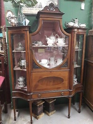 Edwardian wood glass display cabinet with pink fabric lining and braid trim