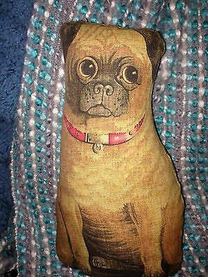 Primitive PUG DOG cloth Animal DOLL 1892 reproduction Litho Rag Doll Pillow PRIM