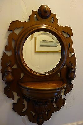 Edwardian Bevel Edged Round Hall Mirror With Ledge