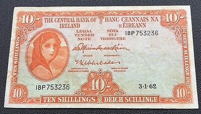 1962 Centrak Bank of Ireland 10 shilling note.