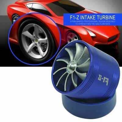 Universal Blue Dual Fan Turbonator Fuel Saver Turbo Supercharger Air Intake FI