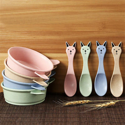 Baby Kids Eating Feeding Food Grade BPA Free Wheat Bowl Spoon Set 4 Colors
