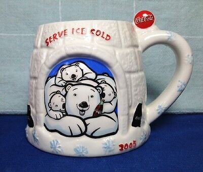 LARGE COCA COLA 3D IGLOO / POLAR BEAR MUG, 28 oz. OVERSIZED CUP, 2005 GIANT COKE