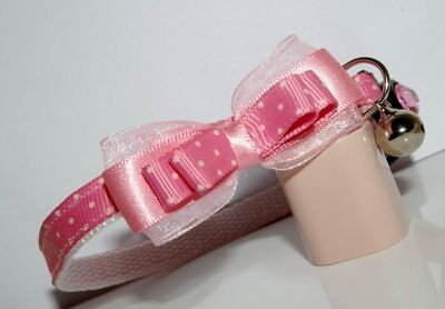 Rose Pink Wth Pale Pink Spots Bow  Adjustable Quick Release Cat Collar