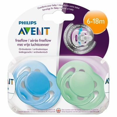 2 Philips Avent Baby Freeflow Soother Ventilated Dummy Pacifier 6-18 Months Blue