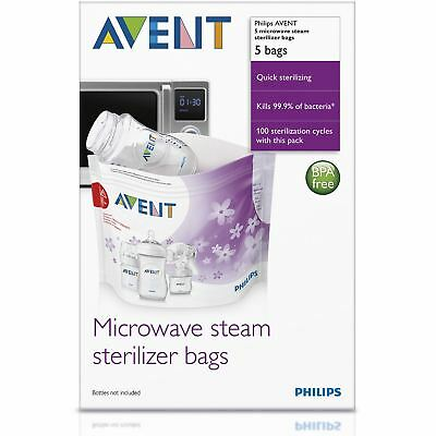 5 x Philips AVENT Microwave Reusable Steam Steriliser Bags Baby Bottle Cleaning