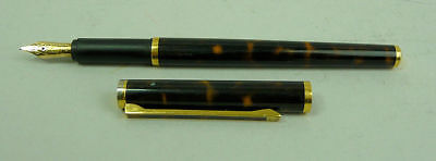 Dunhill Gemline Marble Brown Lacquer Fountain Pen F 14 K Gold Nib G.w.o.