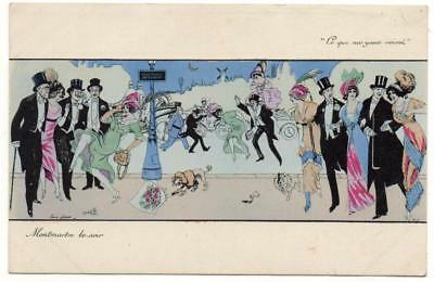 Early XAVIER SAGER Montmartre le Soir  Glamour Fashion  Postcard