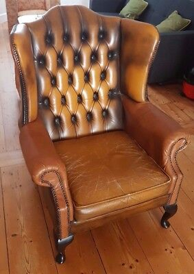 Brown Leather Chesterfield Wingback Armchair (used)