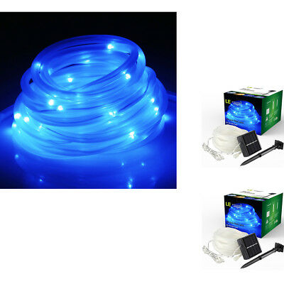 2x LE 5m LED Solar Rope BLUE Flashing Strip Light Waterproof IP55 Garden Party