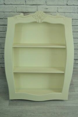 Antique Cream Carved Ornate Wall Display Shelf Unit