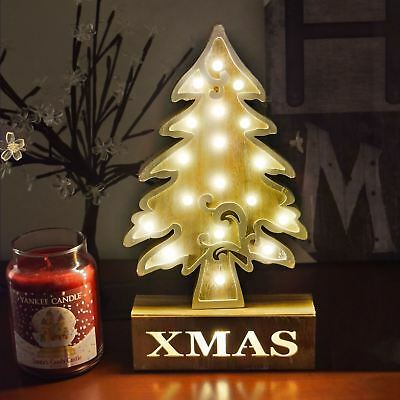 18 LED Light Up Wooden Christmas Xmas Tree Dinner Table Decor Warm White Lantern