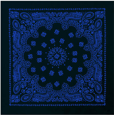 "Black & Royal Blue Trainmen Cotton Paisley Biker Sport Bandana 22"" x 22"""