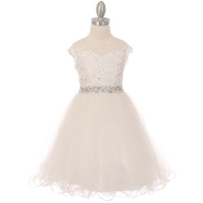 OFF-WHITE Flower Girl Dress Birthday Party Recital Graduation Wedding Formal