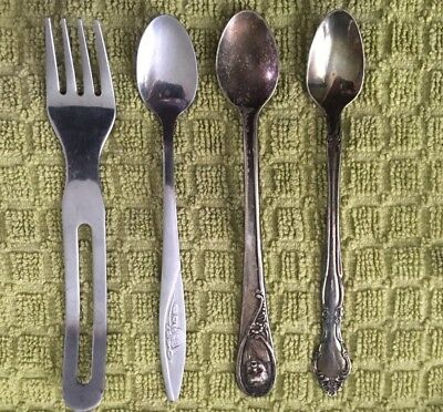 Silver Plate & Stainless Steel Baby Spoons & Fork. Mixed Lot