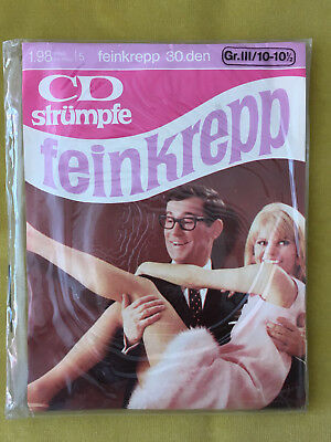60er Nylons Strümpfe CD Feinkrepp 30 Den Vintage 60s Stockings Gr.10-10,5
