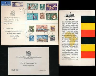 Uganda 1962 Independence First Day Cover Definitive Set + Postmaster Compliments