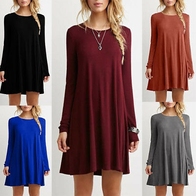 Women Casual Blouse Cotton Long Sleeve Fashion T Shirt Loose Tops Mini Dress