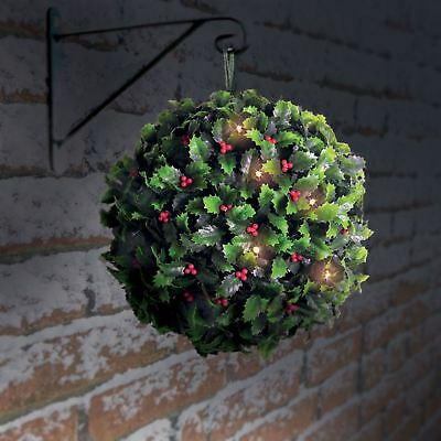 28cm 20 LED Solar Powered Hanging Holly Berry Flower Topiary Ball Christmas