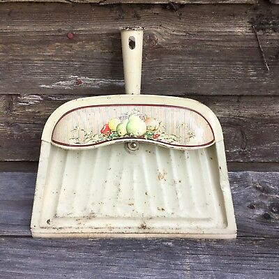 Vintage Metal Dust Pan by J.V.Reed & Co. Light Green and White