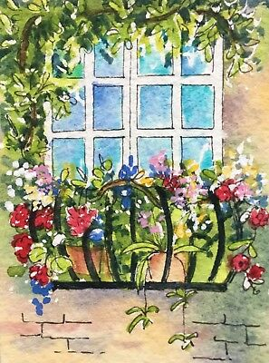 Original Art Small ACEO painting watercolour Balcony Flowers by Pamela West