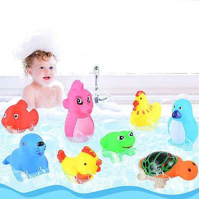Best 13PCS Baby Bath Toys Squeaky Rubber Animal Floating Water Children Kids Toy