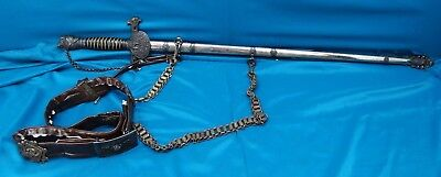 Antique 19th C. Victorian Knights Of Pythias Sword/Scabbard/Belt, Simmons & Co.