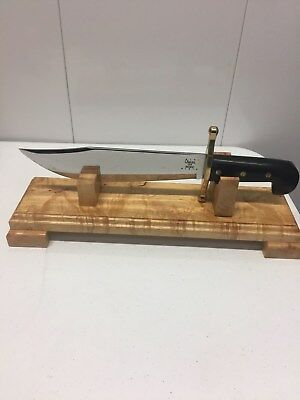 Case XX Black Large Bowie Knife with Black Handle and Wooden Stand!