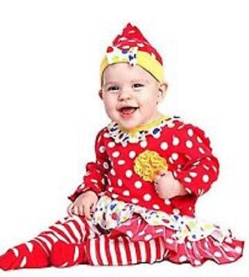 Baby Cutsie Clown Costume 0-6 Months Infant Halloween Outfit 4 Piece