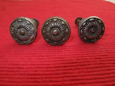 "Set Of 3 Antique Victorian Brass Bronze Ornate Drawer Pulls Knobs 3/4"" D Rosette"