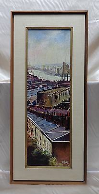 W. Bird Estate Vintage Buildings by River Cityscape Oil Painting on Board