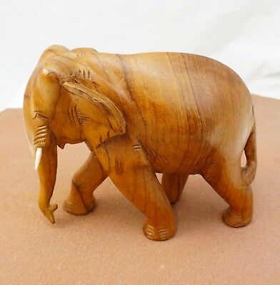 "Vintage Elephant Hand Carved Wood 6.5"" X 7.5""  Ivory Tusks Euc!"