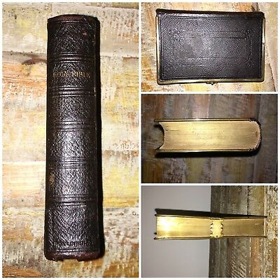 1869 Antique Holy Bible Old & New Testament Gilt Leather Clasp Cambridge